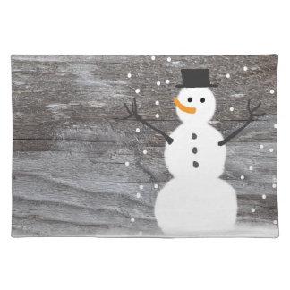 Salvamanteles Muñeco de nieve rústico de moda del navidad de