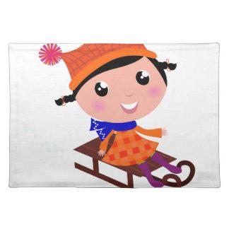 Salvamanteles Naranja del chica del patinaje de hielo