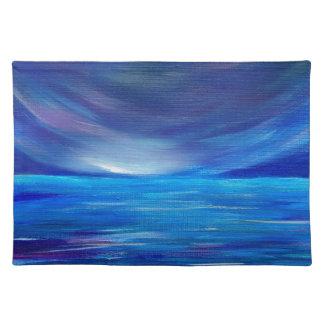 Salvamanteles Paisaje marino abstracto azul y púrpura