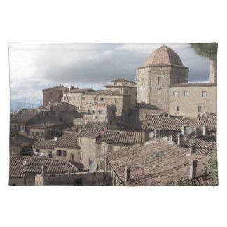 Salvamanteles Panorama del pueblo de Volterra, Toscana, Italia