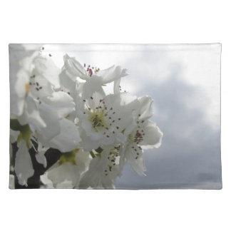 Salvamanteles Peral floreciente contra el cielo nublado