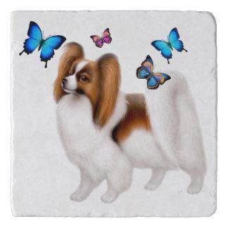 Salvamanteles Perro de Papillon con las mariposas Trivet de