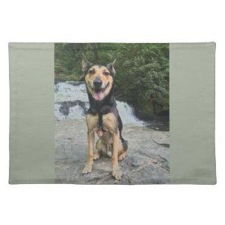 Salvamanteles Perro sonriente en roca