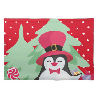Salvamanteles Pingüino festivo con el trineo - rojo
