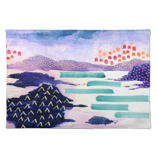 Salvamanteles Pintura de paisaje colorida del Watercolour