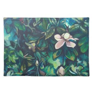 Salvamanteles Placemat tropical del paño de la magnolia