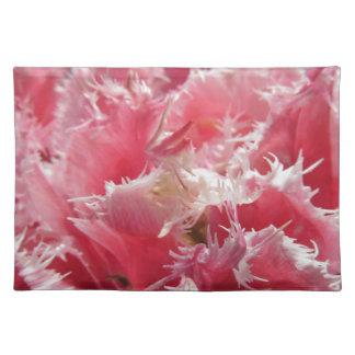 Salvamanteles Primer de tulipanes rayados rosa en primavera
