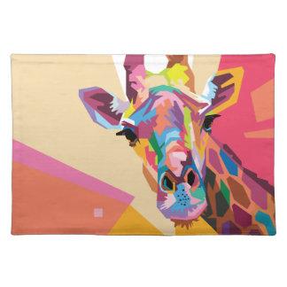 Salvamanteles Retrato colorido de la jirafa del arte pop