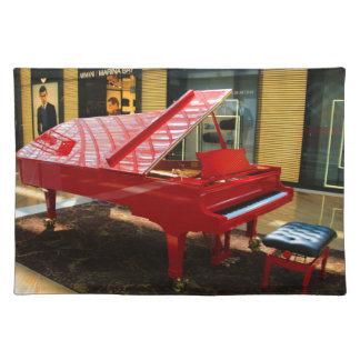 Salvamanteles Simplemente rojo: piano de cola