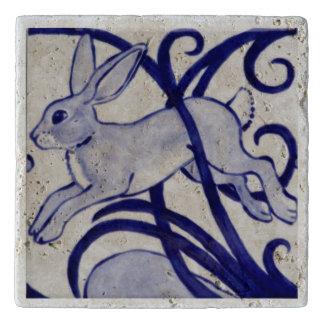 Salvamanteles Teja blanca Trivet de la piedra del conejo de los