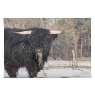 Salvamanteles Toro escocés del montañés que come el heno en