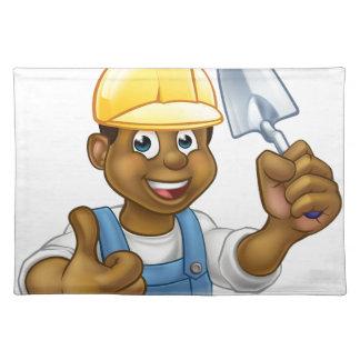 Salvamanteles Trabajador negro del albañil del constructor con