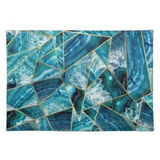 Salvamanteles Triángulo geométrico del oro del negro de la ágata