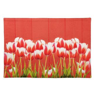 Salvamanteles Tulipanes rojos y blancos