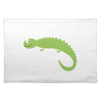 Salvamanteles Verde del lagarto del diseño en blanco