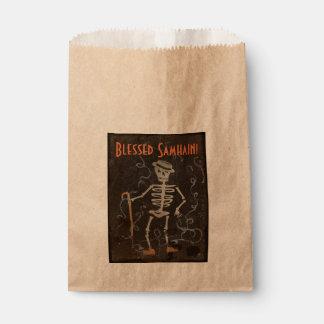 Samhain esquelético antiguo bolsa de papel