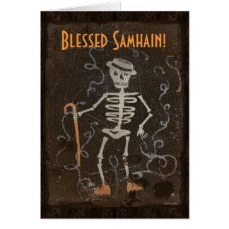Samhain esquelético antiguo tarjeta de felicitación