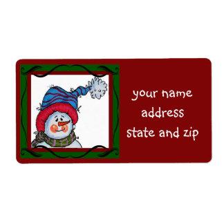 Sammy la etiqueta de dirección del muñeco de nieve