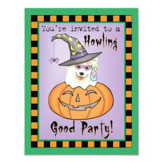 Samoyedo Halloween Invitación 10,8 X 13,9 Cm