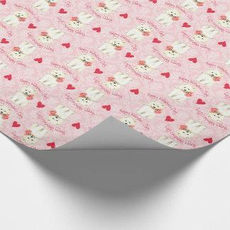 Samoyedo subió tarjeta del día de San Valentín Papel De Regalo