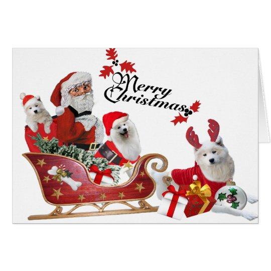 Samoyedo y Santa en tarjetas del trineo