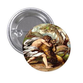samson que mata a un pequeño botón del león chapa redonda 2,5 cm