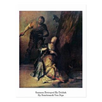 Samson traicionó por Delilah de Rembrandt Van Rijn Tarjeta Postal