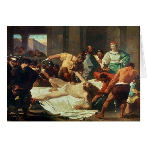 Samson traicionó por Delilah (el aceite en lona) Tarjeta