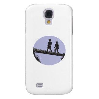 Samsung Galaxy S4 Cover Caminantes que cruzan el solo grabar en madera del