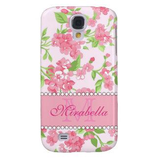 Samsung Galaxy S4 Cover Nombre de ramas rosado del flor de la acuarela de