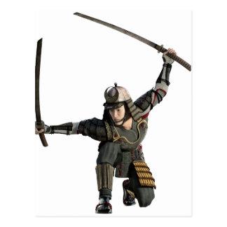 samurai con dos espadas en una posición en postal