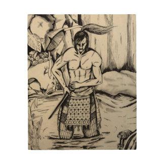 Samurai de Ronin Impresión En Madera