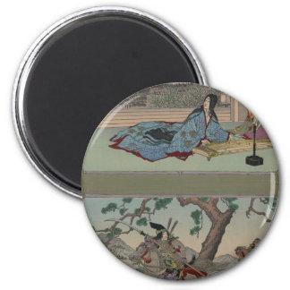 Samurai de sexo femenino circa 1800s imán de nevera