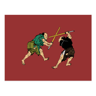 Samurai en duelo postales