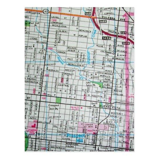 SAN ANTONIO, postal del mapa del vintage de TX
