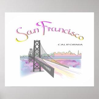 San Francisco, CA con colores del arco iris Póster