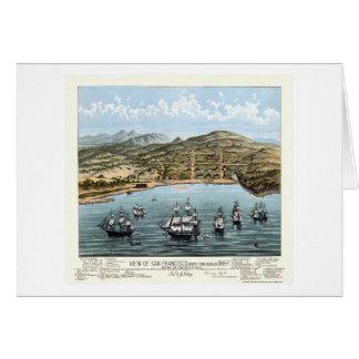 San Francisco, mapa panorámico de CA - 1847 Tarjetas