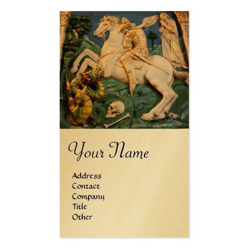 San Jorge, dragón y princesa Monogram Gold Plantillas De Tarjetas Personales