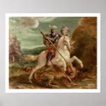 San Jorge que mata el dragón, (aceite en el panel) Posters
