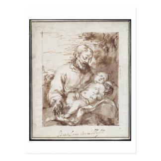 San José con el niño durmiente de Cristo (pluma y  Postal