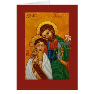 San José el trabajador con la tarjeta en blanco de