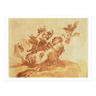 San José que adora al niño de Cristo (pluma, tinta Postal