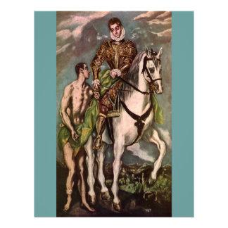 San Martín y el mendigo de El Greco, circa 1600 Folleto 21,6 X 28 Cm