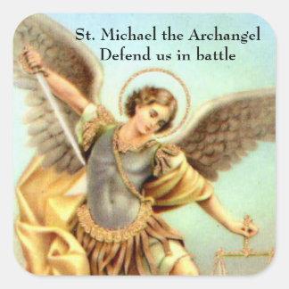 San Miguel la armadura de la espada del arcángel Pegatina Cuadrada