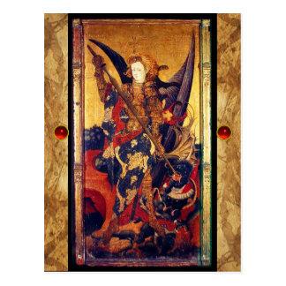 San Miguel que vence la tarjeta del rezo del diabl Tarjetas Postales