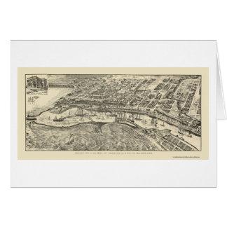 San Pedro mapa panorámico de CA - 1905 Tarjetón