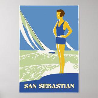 San Sebastián, viaje retro del arte del vector