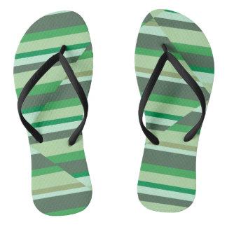 Sandalias verdes de la raya