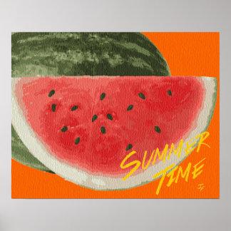 Sandía del tiempo del verano póster