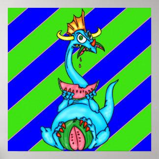 Sandía que come el dragón posters